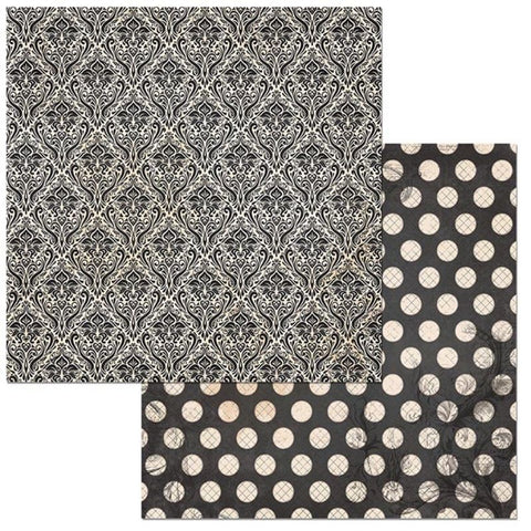 Dot Damask Double-Sided Cardstock / hojas de papel gris