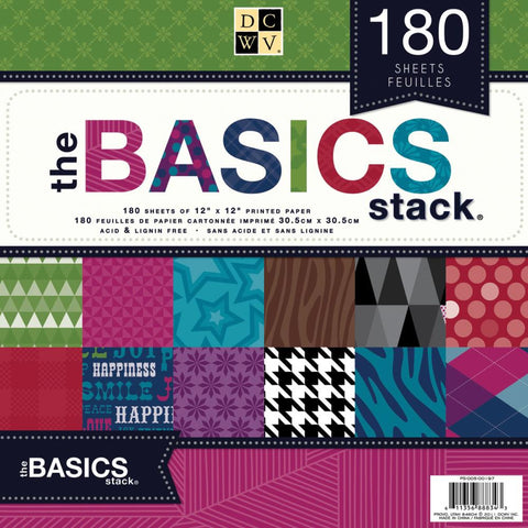 Basics Stack / Block de 180 Hojas de Papel Decorado - Hobbees