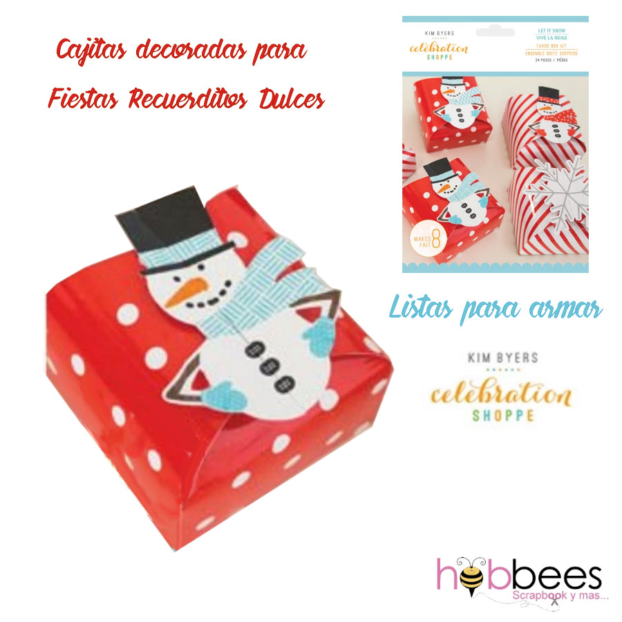 Favor Box Kit Let It Snow 24 pc / Set de Cajitas de Recuerdo Hombre de Nieve
