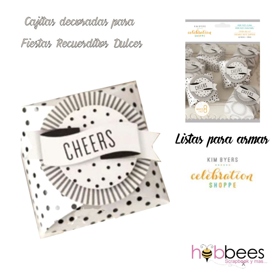 Favor Box Kit Pop, Fizz, Clink 32 pc / Set de Cajitas de Recuerdo para Fiestas Blanca y Negra