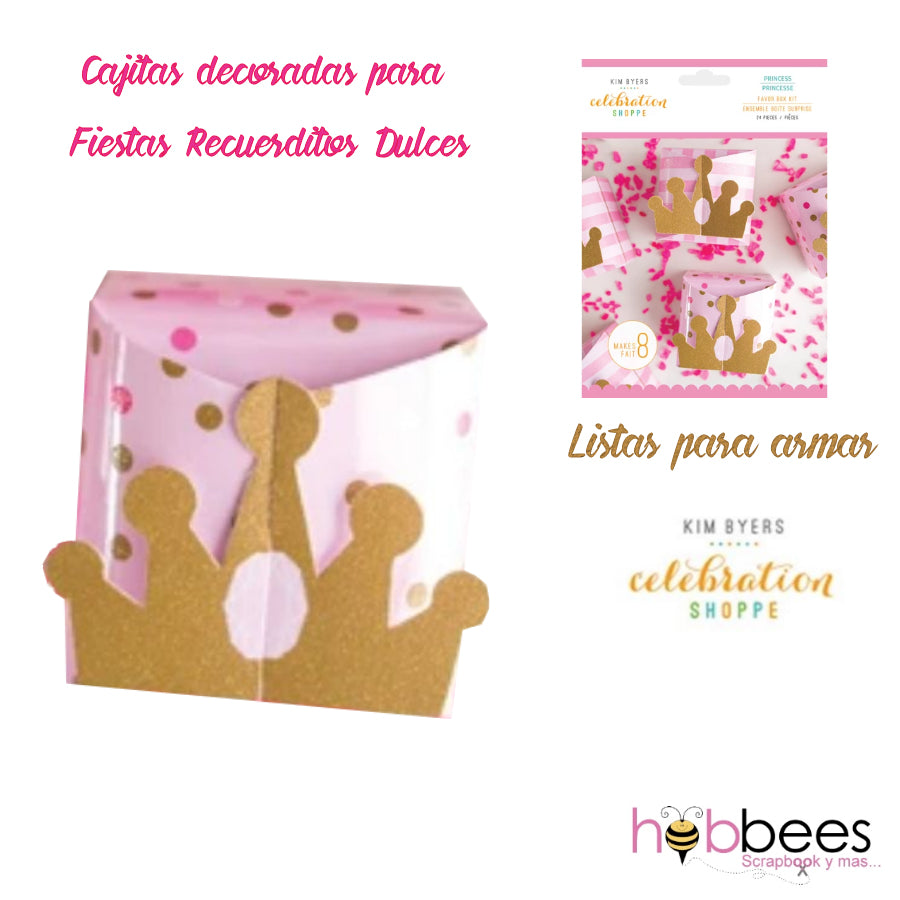 Favor Box Kit Princess 24 pc / Set de Cajitas de Recuerdo para Niñas Coronas