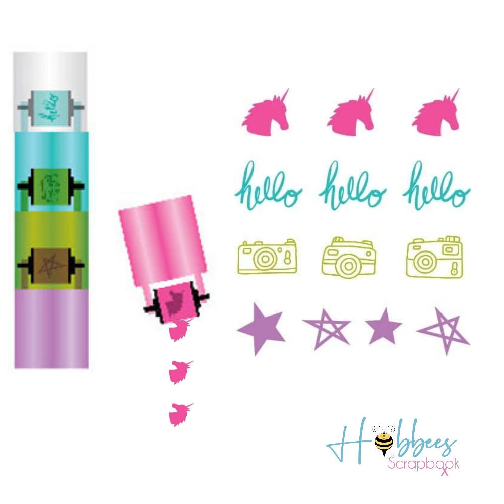Glitter Girl Stamp Roller / 4 Sellos Giratorios Mini