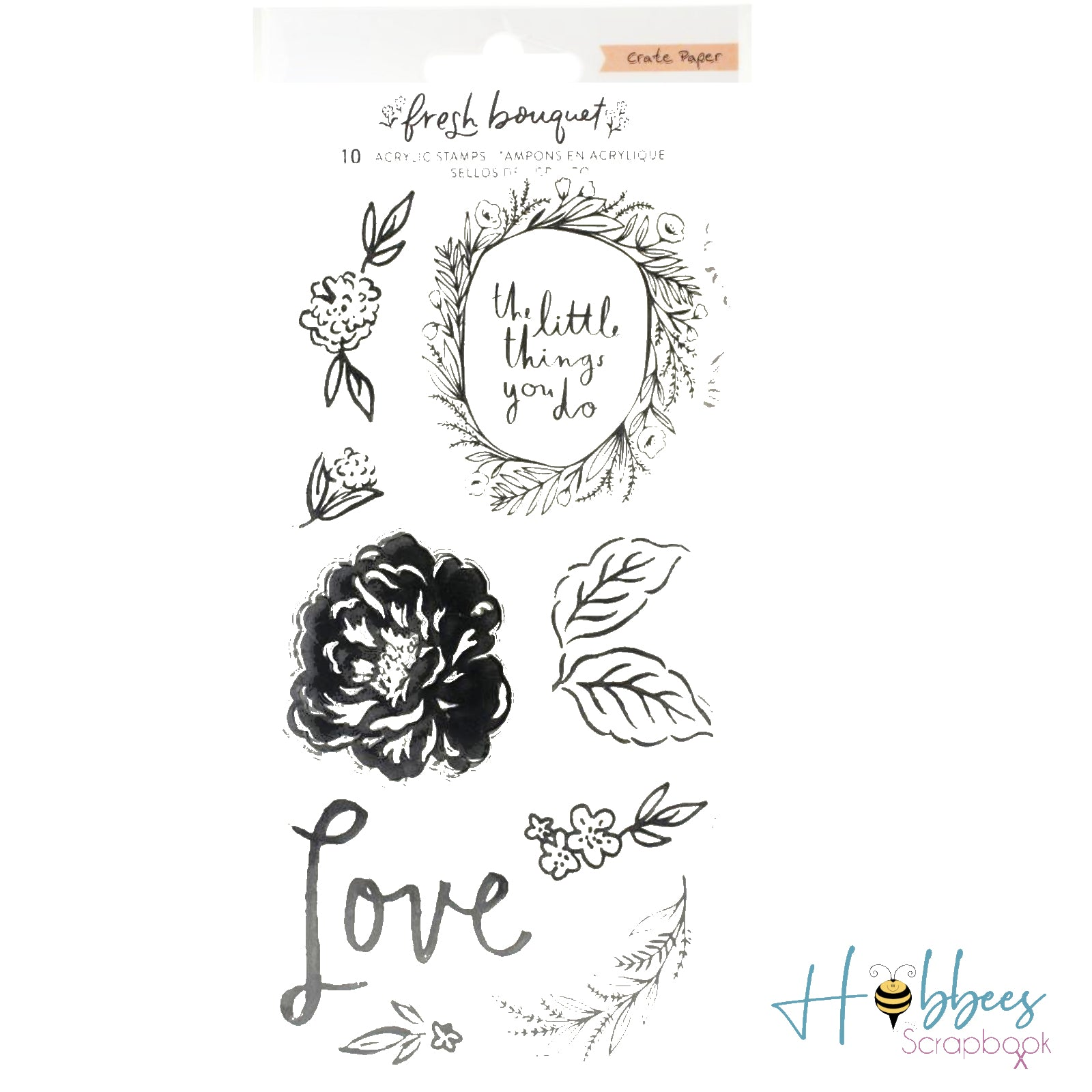 Fresh Bouquet Acrylic Clear Stamps / Sellos de Polímero Ramillete Fresco