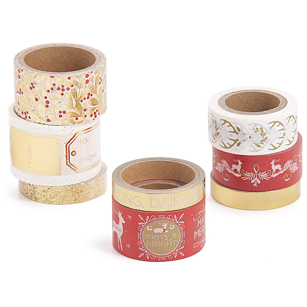 8 Christmas Red Gold Washi Tape / 8 Cintas Adhesivas Washi
