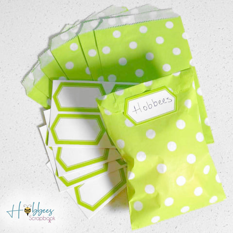 Party Bags & Labels Green / Bolsas y Etiquetas para Regalar