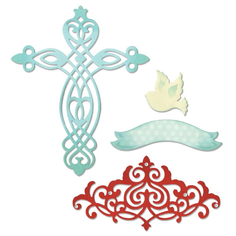 Suaje de Corte de Cruz y Paloma / Thinlits Cross Dove Banner Border Die - Hobbees - 1