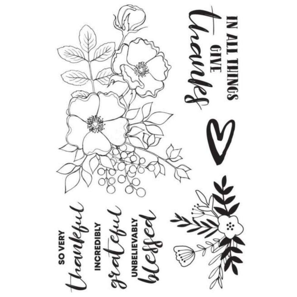 Blessed Clear Acrylic Stamps / Sellos de Polímero Flores