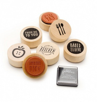 Wood Stamps From My Kitchen To Yours / Kit de Sellos de Madera Frases de Cocina