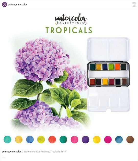 Watercolor Confections Tropicals / Estuche de Acuarelas Tonos Tropicales