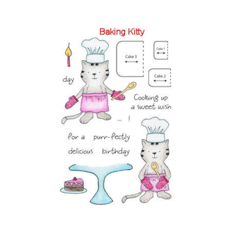Baking Kitty Stamps / Sellos de Polímero Gato Cocinando