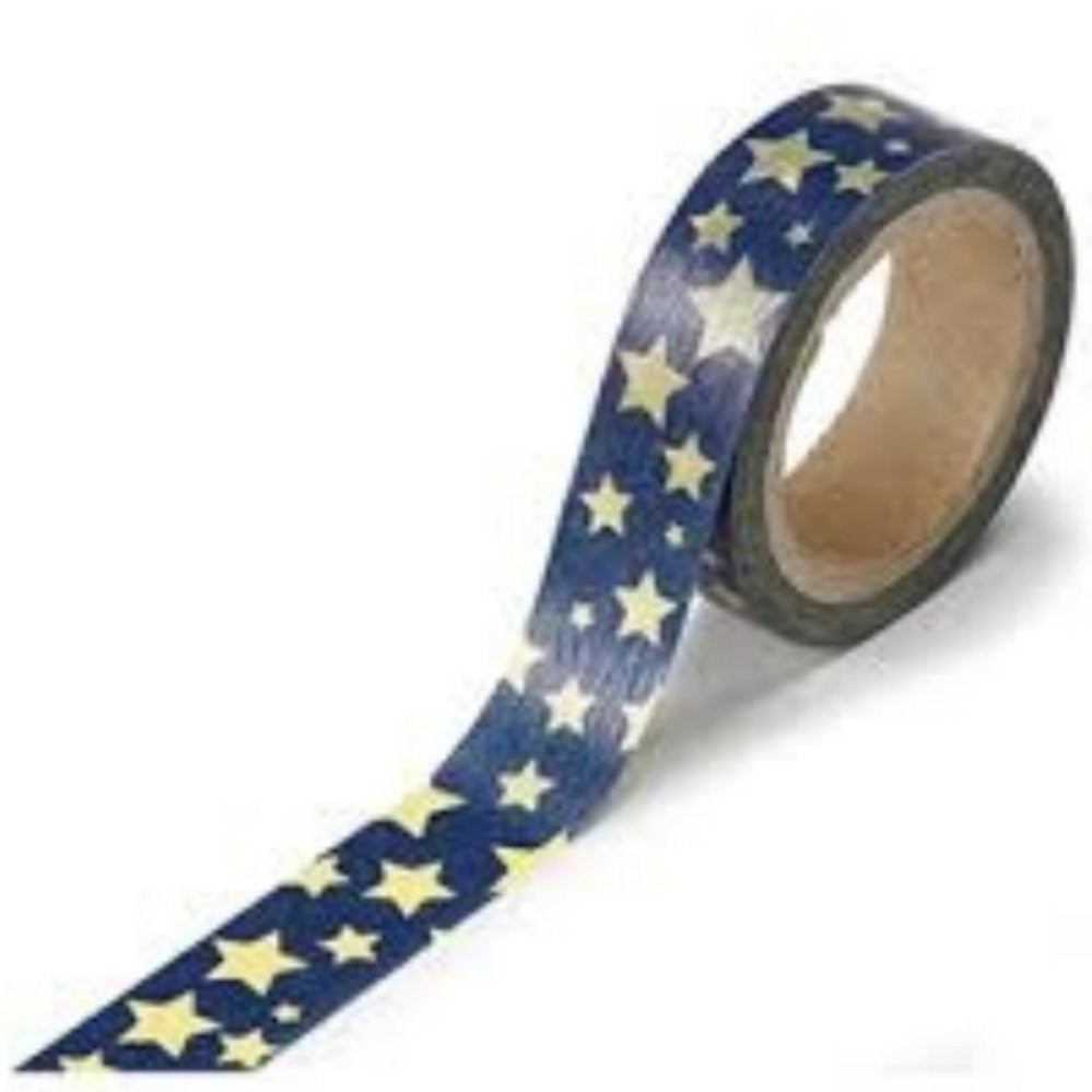 Cinta Adhesiva / Washi Tape Blue With Gold Star - Hobbees