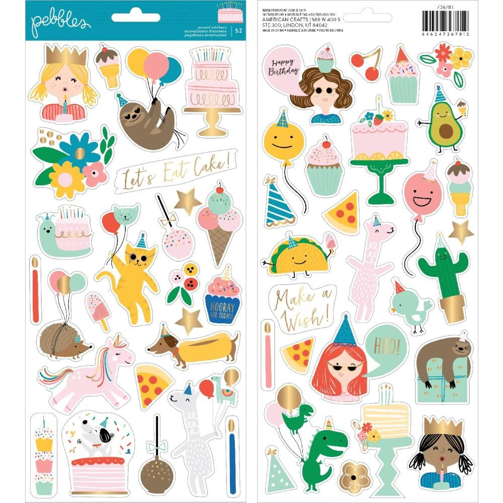 Cardstock Stickers Happy Cake Day / Estampas de Cartulina Cumpleaños Feliz