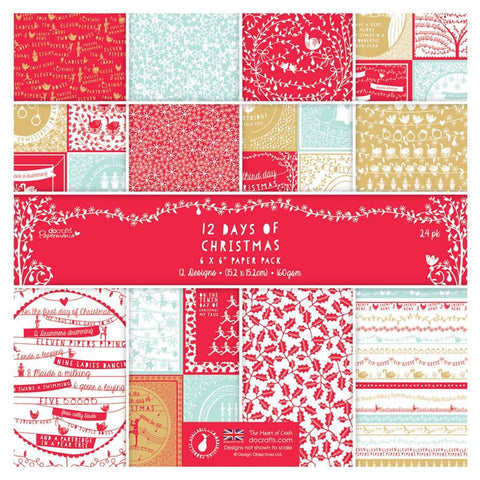12 Days of Christmas Paper 24pk / Block de Papel de Navidad - Hobbees
