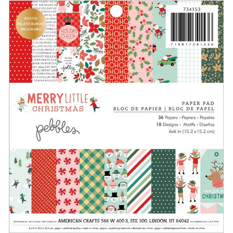 "Merry Little Christmas Paper Pad 6"" / Block de Papel Decorado Navidad"