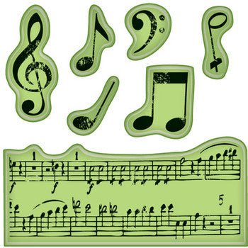 Music Notes Stamps 60-60152 / Sellos de Goma Cling Notas Musicales - Hobbees - 1