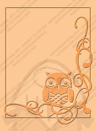 Embossing Folder Owl Flourish / Folder de Grabado Buho en Esquina - Hobbees