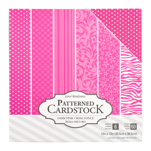 Dark Pink Patterned Cardstock / Cartulina Decorada Rosa 60 Hojas