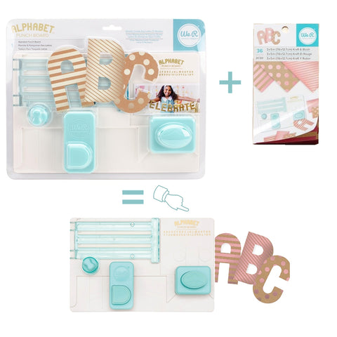 Alphabet Punch Board & Paper Kit / Tabla Para Hacer Letras y Papel Metalizado