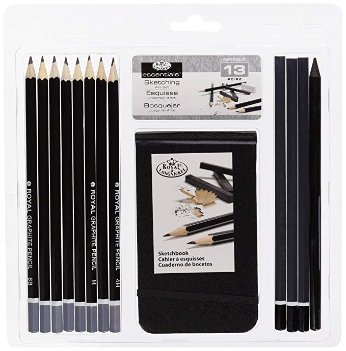 Sketching Pencil W/Sketchbook 13pc / Kit de dibujo 13 piezas