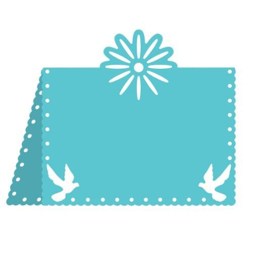Suaje de Corte de Tarjeta de paloma y flor / flower and dove placecard - Hobbees - 1
