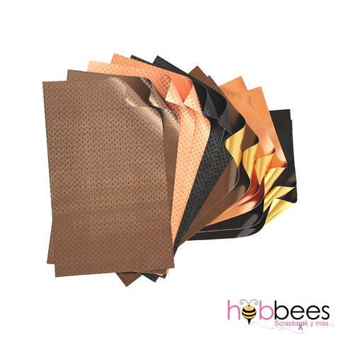 "Earth Foiled Papers 6""x12"" / 12 Hojas de Papel Tipo Alumino Doble Cara Tierras"