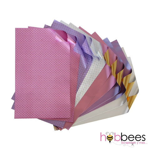 "Princess Foiled Papers 4""x6"" / 12 Hojas de Papel Tipo Alumino Doble Cara Colores Princesa"