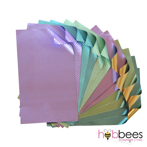 "Pastels Foiled Papers 6""x12"" / 12 Hojas de Papel Tipo Alumino Doble Cara Pasteles"