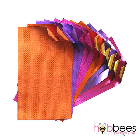 "Floral Foiled Papers 4""x6"" / 12 Hojas de Papel Tipo Alumino Doble Cara Colores Florales"
