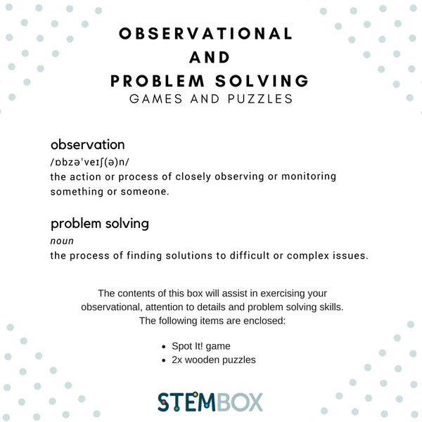 Observational and Problem Solving Games and Puzzle - STEM Box Australia