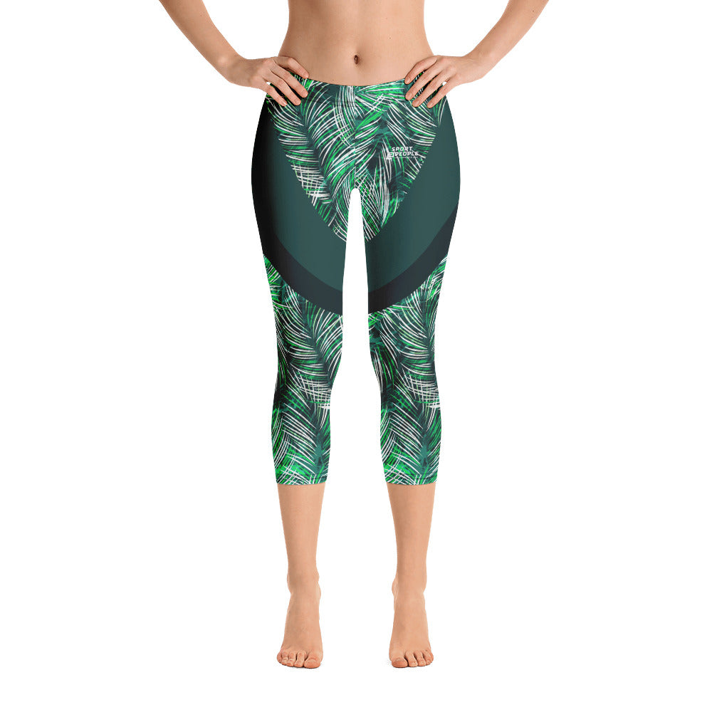 Green Jungle Capri Leggings with Stripes - Sport2People