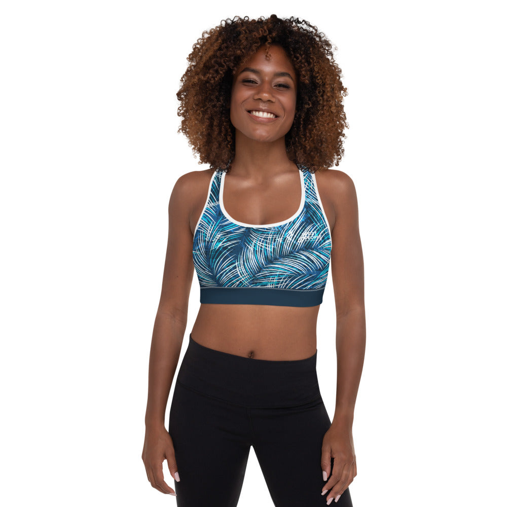 Blue Jungle Sports Bra with Blue Elastic Hem - Sport2People