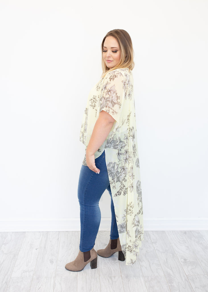 Rendezvous High-Low Duster in Lemon
