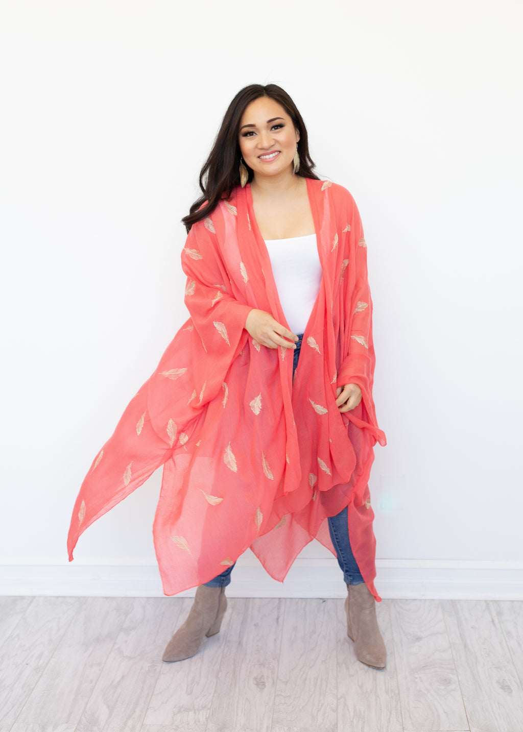 Feather Fantasia Kimono in Coral