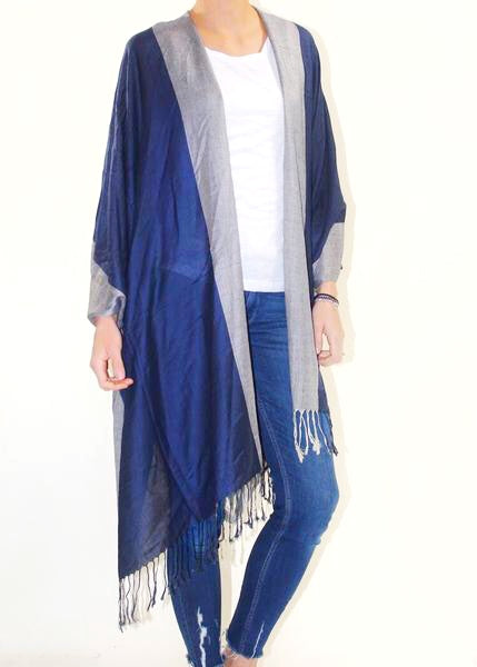 SEASIDE AT MIDNIGHT KIMONO - NAVY/SILVER