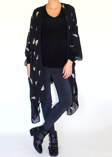 FEATHER FANTASIA KIMONO - BLACK