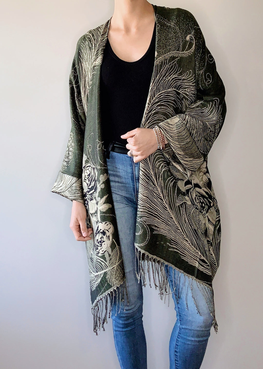 Primrose Boho Jacket in Olive with Cuffs