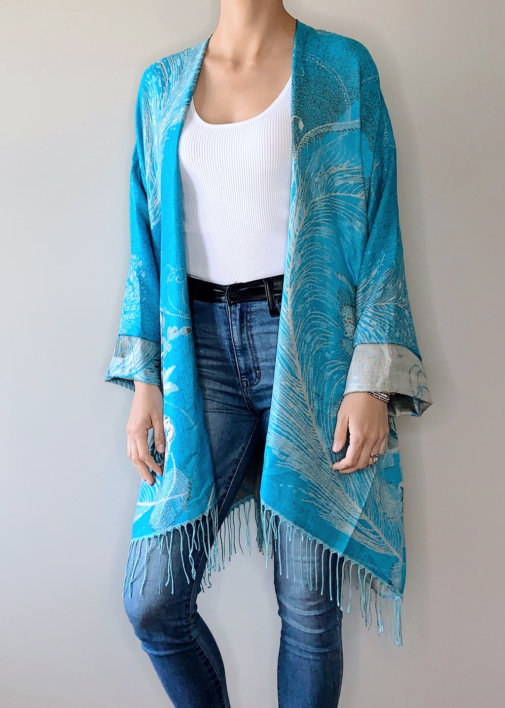 Primrose Boho Jacket in Blue with Cuffs