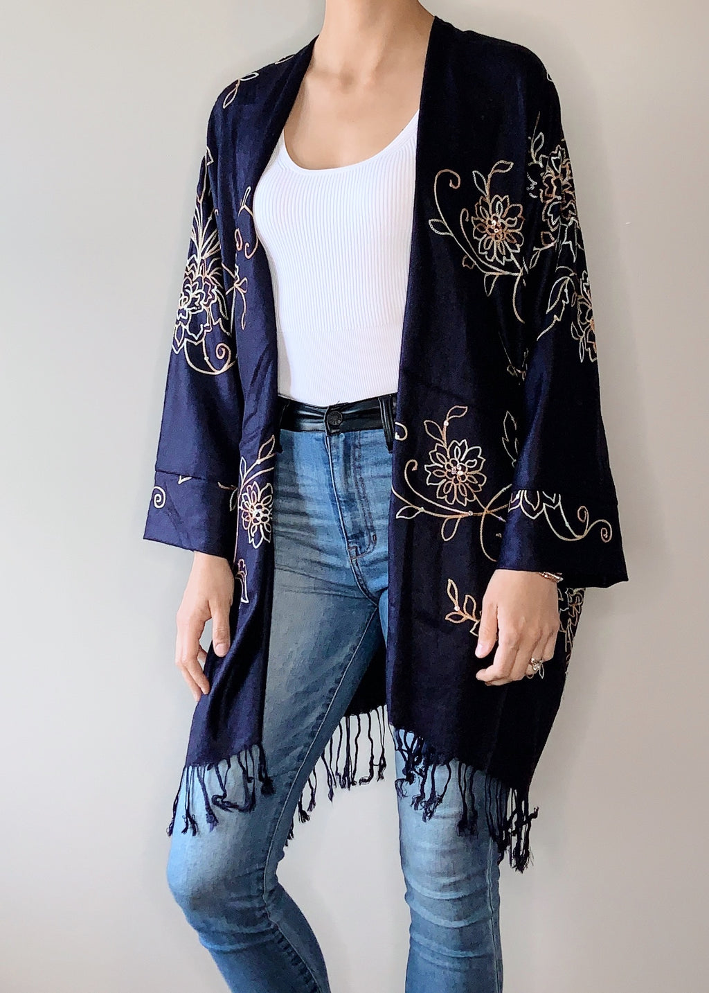 Nostalgia Boho Jacket in Navy with Cuffs