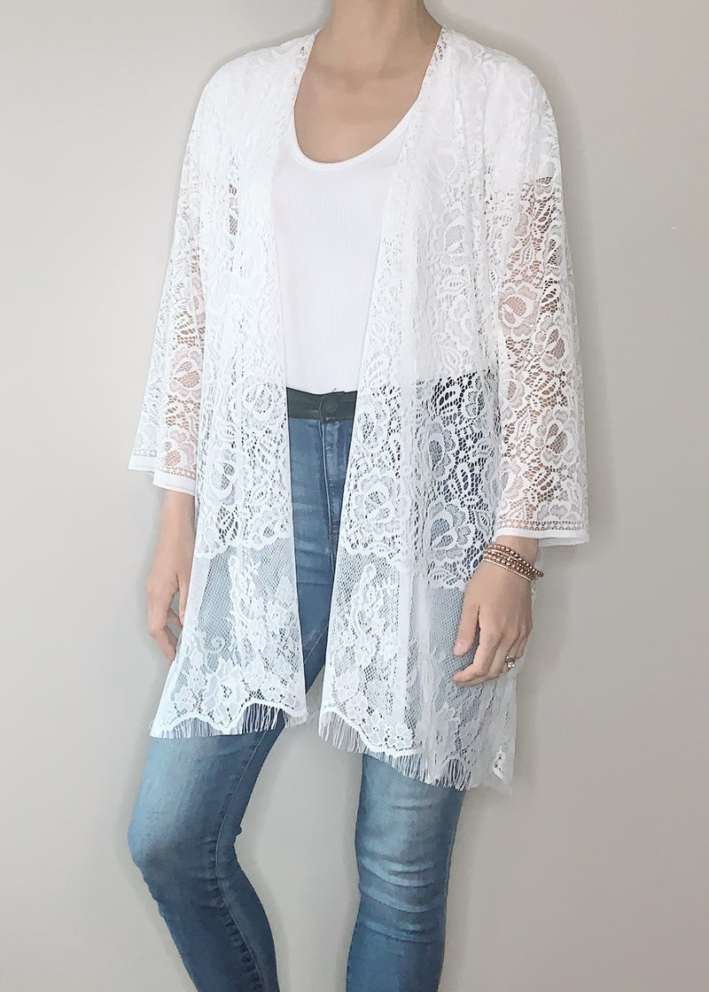 Monaco Boho Jacket in White