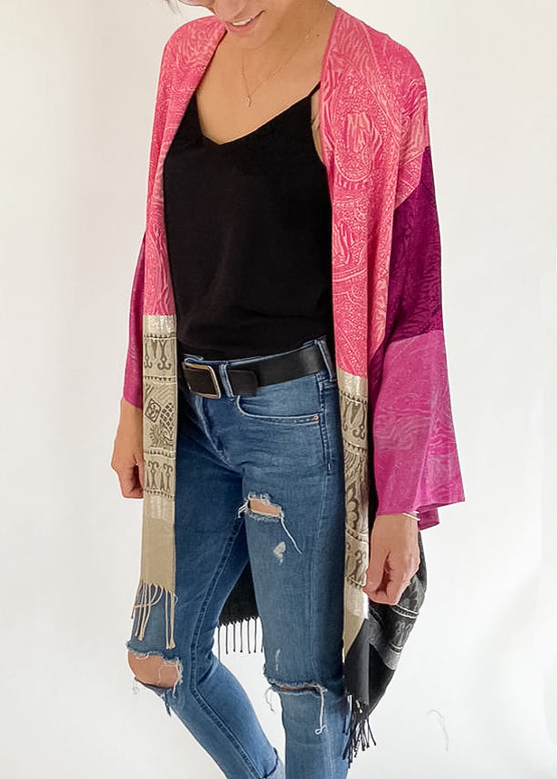 Trinity Boho Jacket in Fuchsia