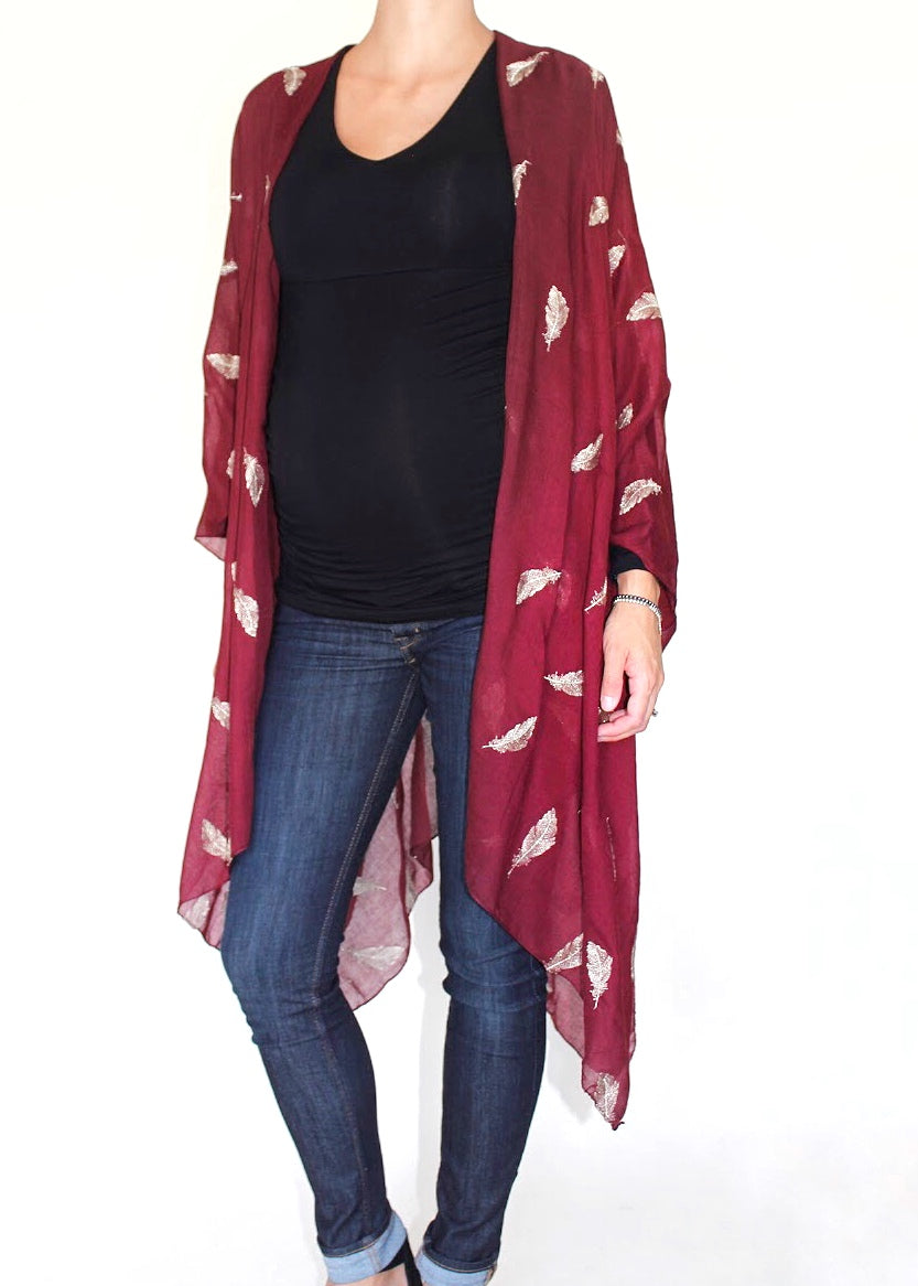 Feather Fantasia Kimono in Merlot