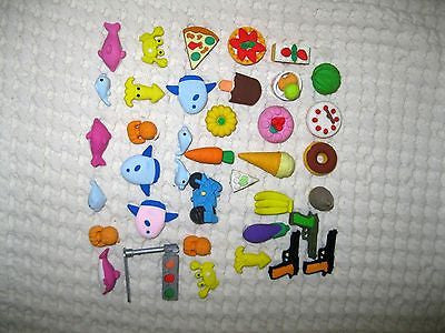 Iwako Japanese Fruits Desserts guns fish Erasers Made in Japan 24 Pieces-New!v10