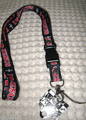 "Red with White Lettering  I Love Jesus 15"" lanyard  with ID Holder-New!"