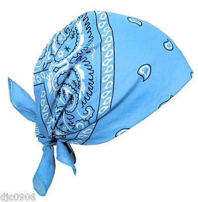 100%Cotton Paisley Light Blue Bandanna Face Mask Head Wrap Scarf Wristband-New