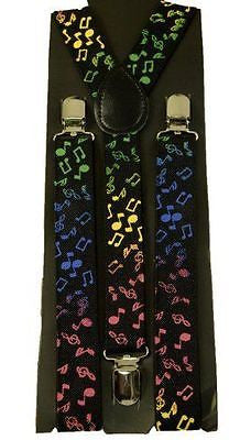 Unisex Multi Color Musical Notes Adjustable Y-Style Back suspenders-New in Pkg!