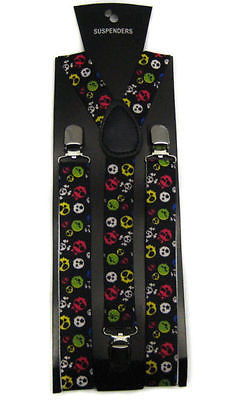Unisex Multi Color Alien Faces Adjustable Y-Style Back suspenders-New in Package
