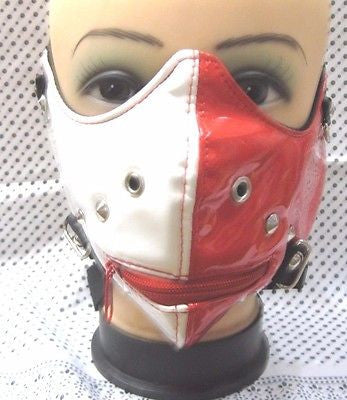 Hannibal Red/White Zipper Mouth Mask Motorcycle Goth Punk Bondage PaintBall-New!