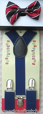 Kids Boys Girls Black White Checkers Adjustable Bow Tie& Black Y-Back suspenders