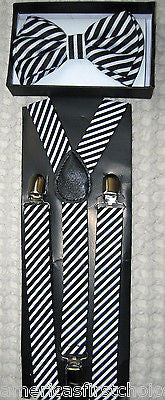 MULTI-COLOR PAINT SPLATTER TUXEDO BOW TIE+ MATCHING ADJUSTABLE SUSPENDERS COMBO