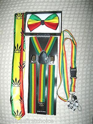 "Rasta Stripes Adjustable Bow Tie and Rasta stripes 15"" Lanyard Combo-New w/Tags!"